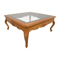 79% OFF - Scroll Light Wood Glass Coffee Table / Tables