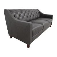69% OFF - Macy's Macy's Tufted Gray Leather Sofa / Sofas