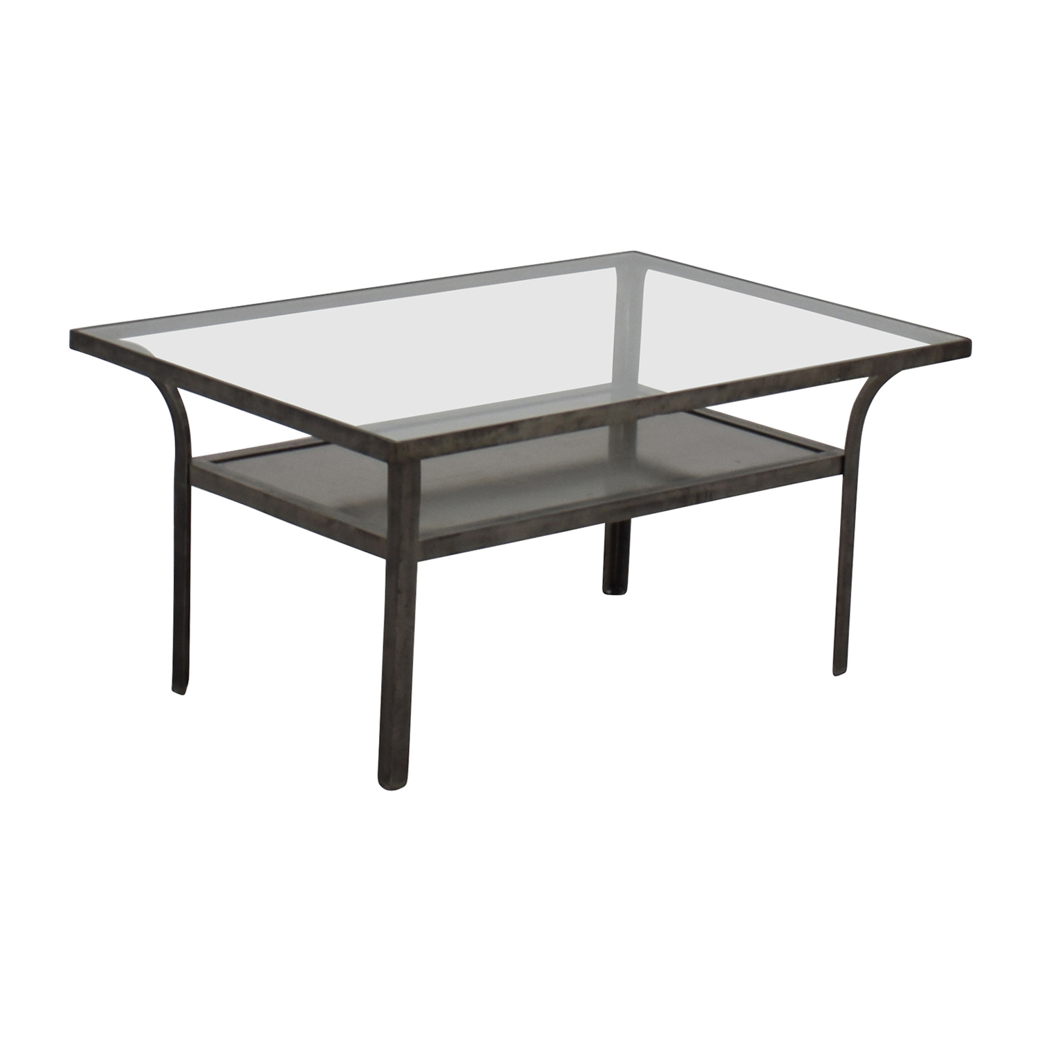 Glass And Steel Coffee Tables 90 Off Crate And Barrel Crate And Barrel Metal And