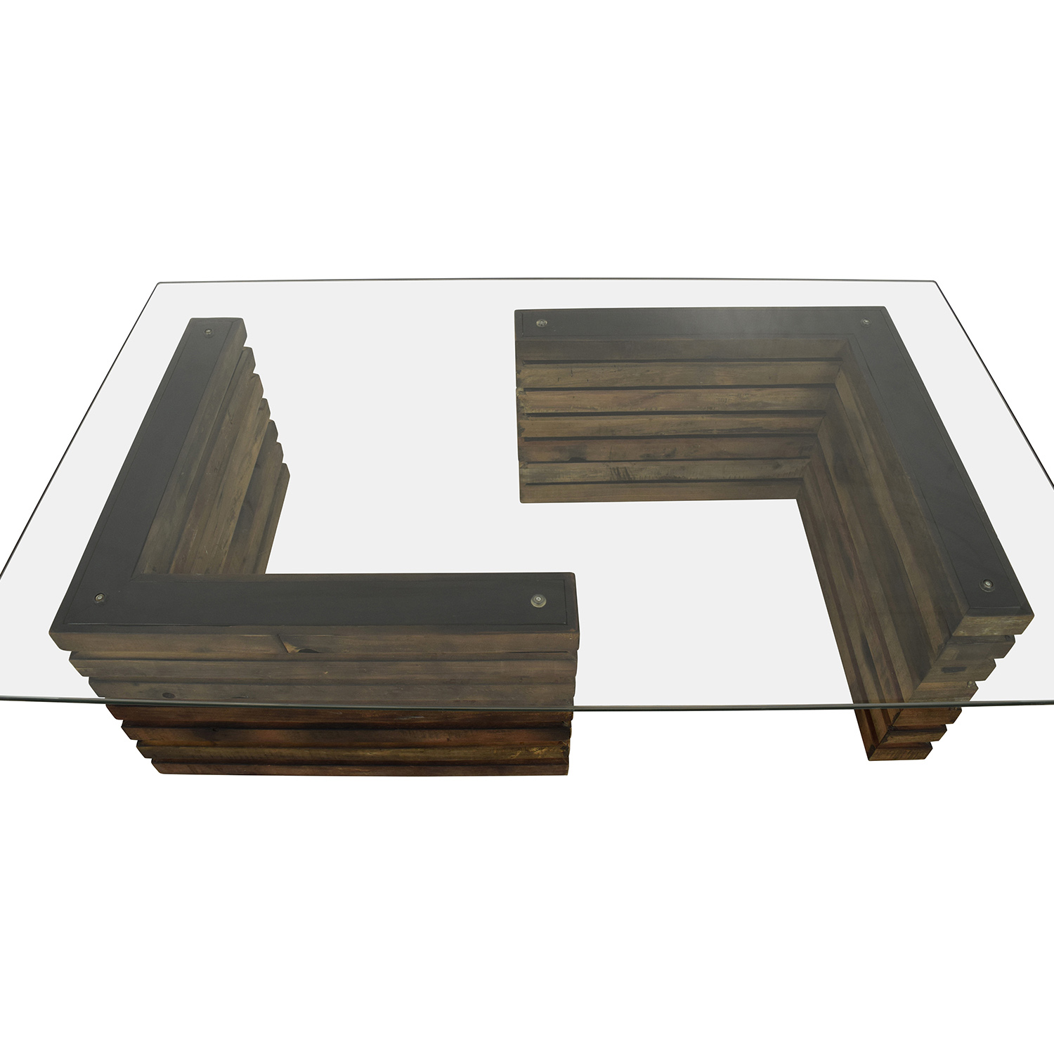 Rustic Wood And Glass Coffee Table 88 Off Rustic Industrial Wood And Glass Coffee Table