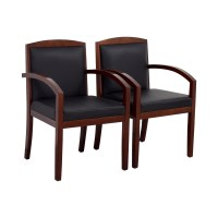 90% OFF - Black Leather and Wood Chairs / Chairs