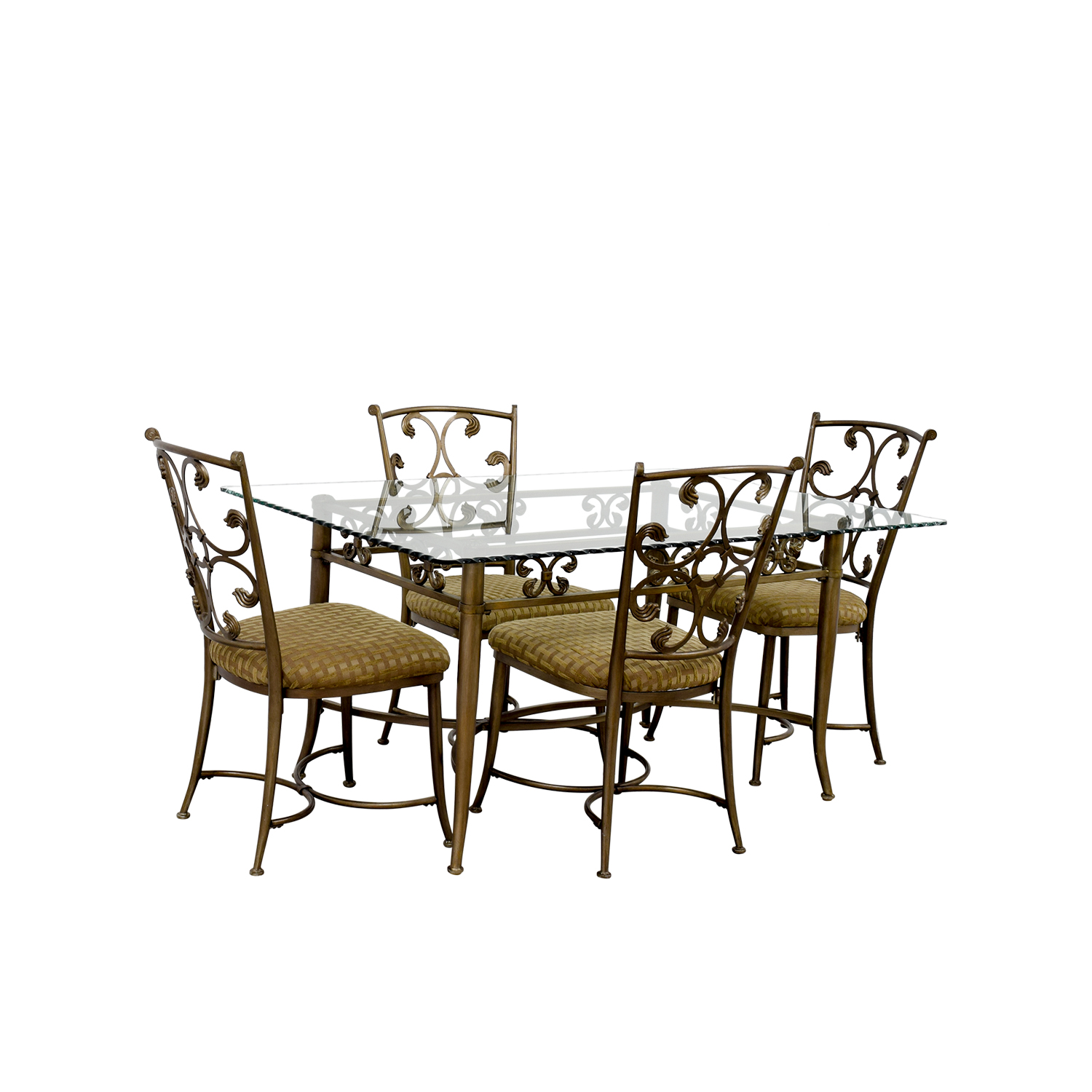 72 Off Glass And Gold Wrought Iron Dining Set Tables