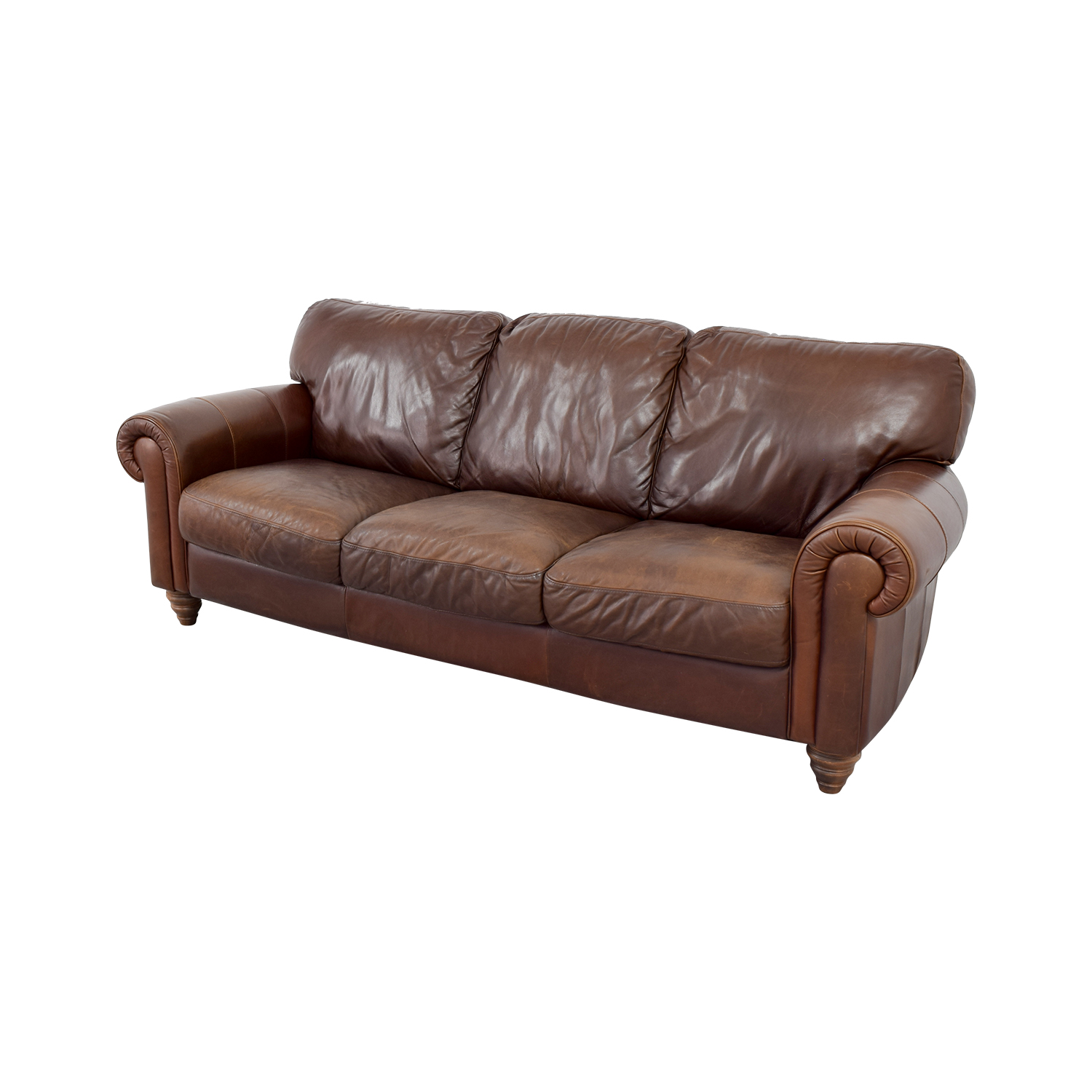Cushions For Brown Leather Sofas 90 Off Brown Three Cushion Leather Couch Sofas
