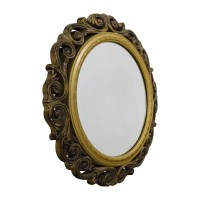 80% OFF - Gold Scrolled Frame Round Wall Mirror / Decor