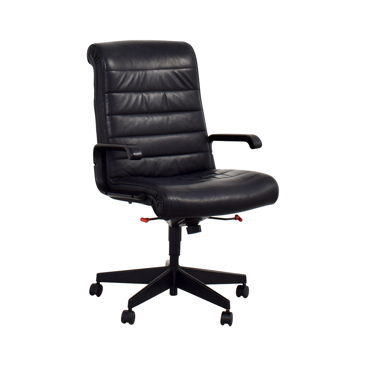Furniture Chairs Black 90 Off Black Leather Office Chair Chairs