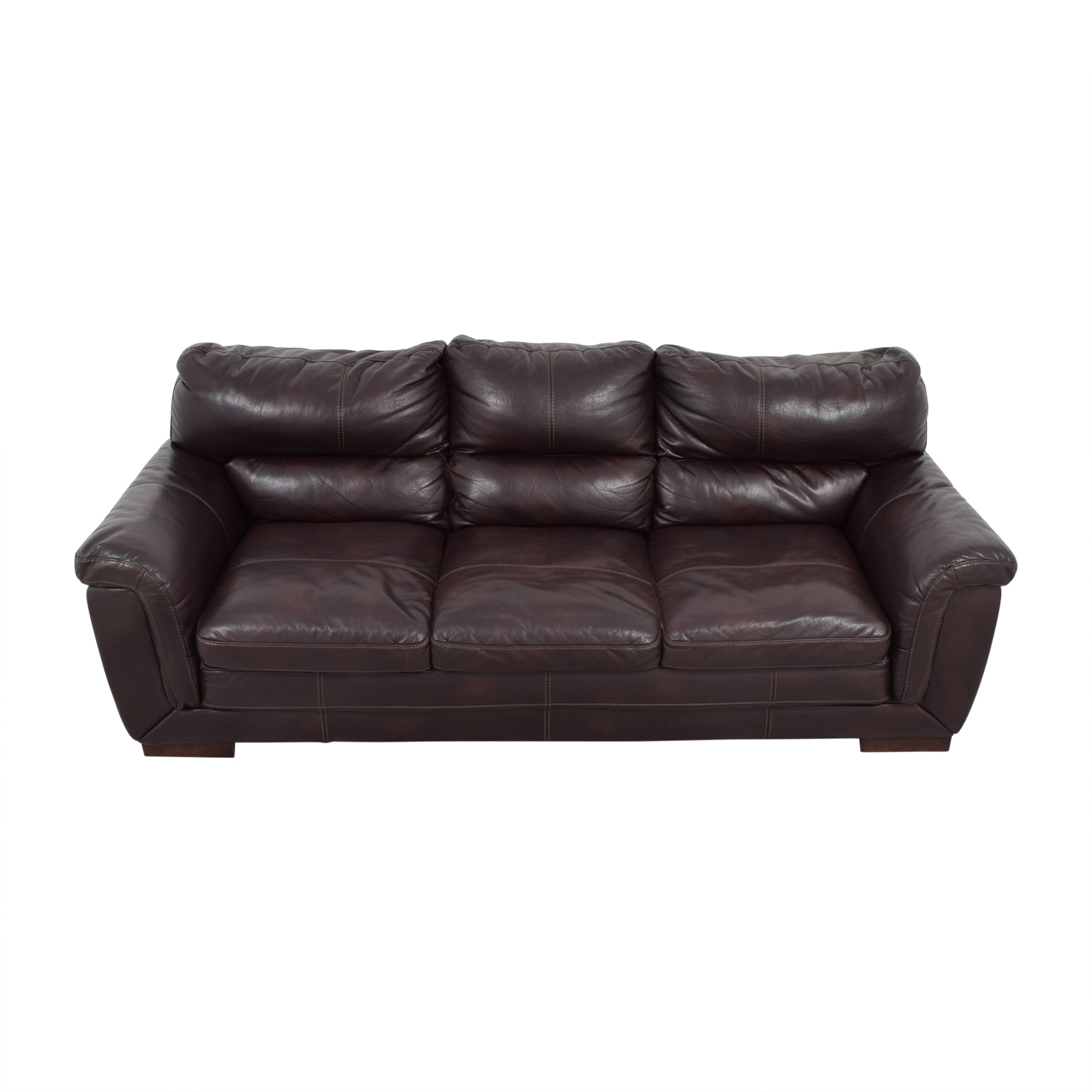 Cushions For Brown Leather Sofas Cushion Sofa 84 Off Cb2 Brown Leather Three Cushion Sofa