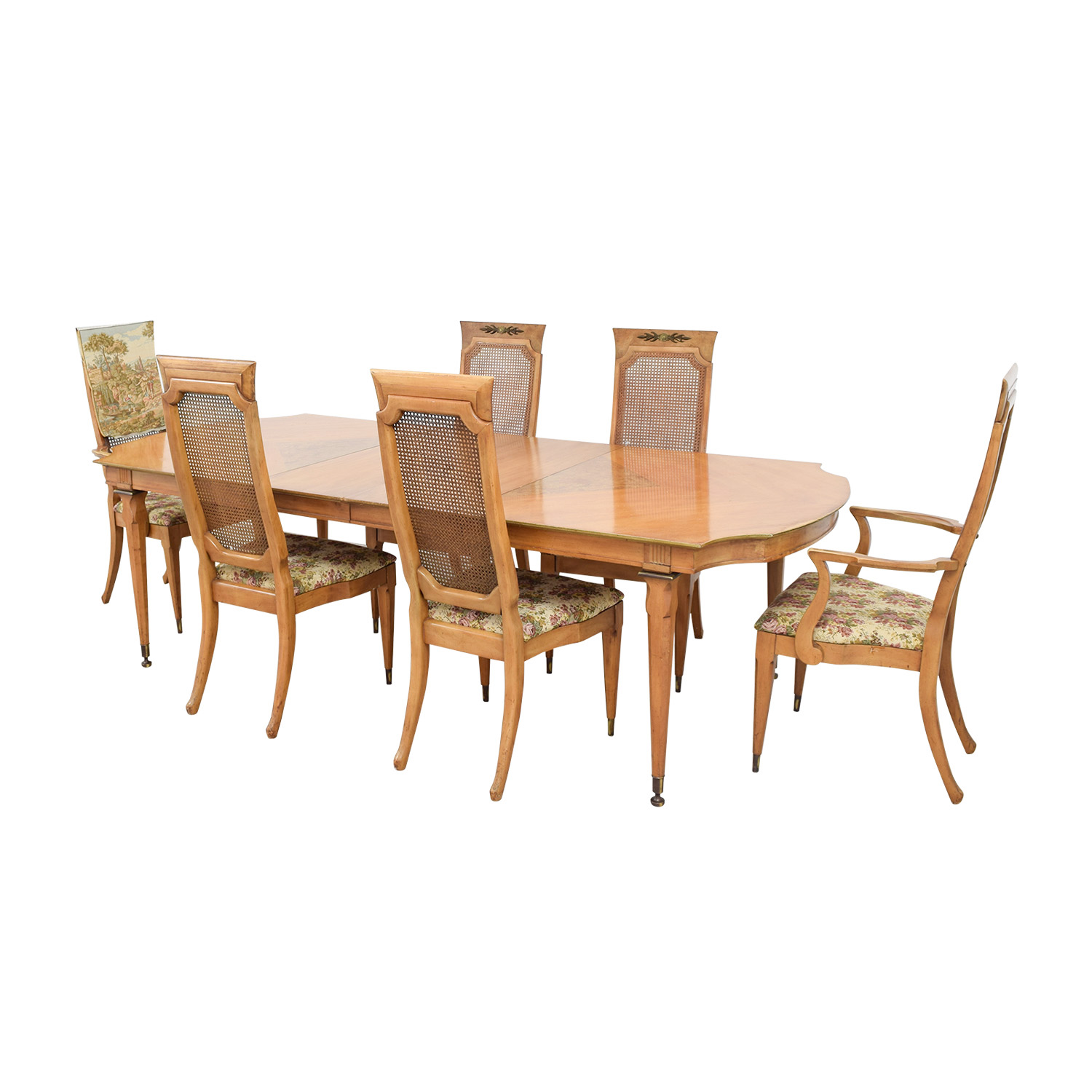 Second Hand Wood Sala Set 90 Off Merz 1968 Merz 1968 Wood Dining Set With Floral
