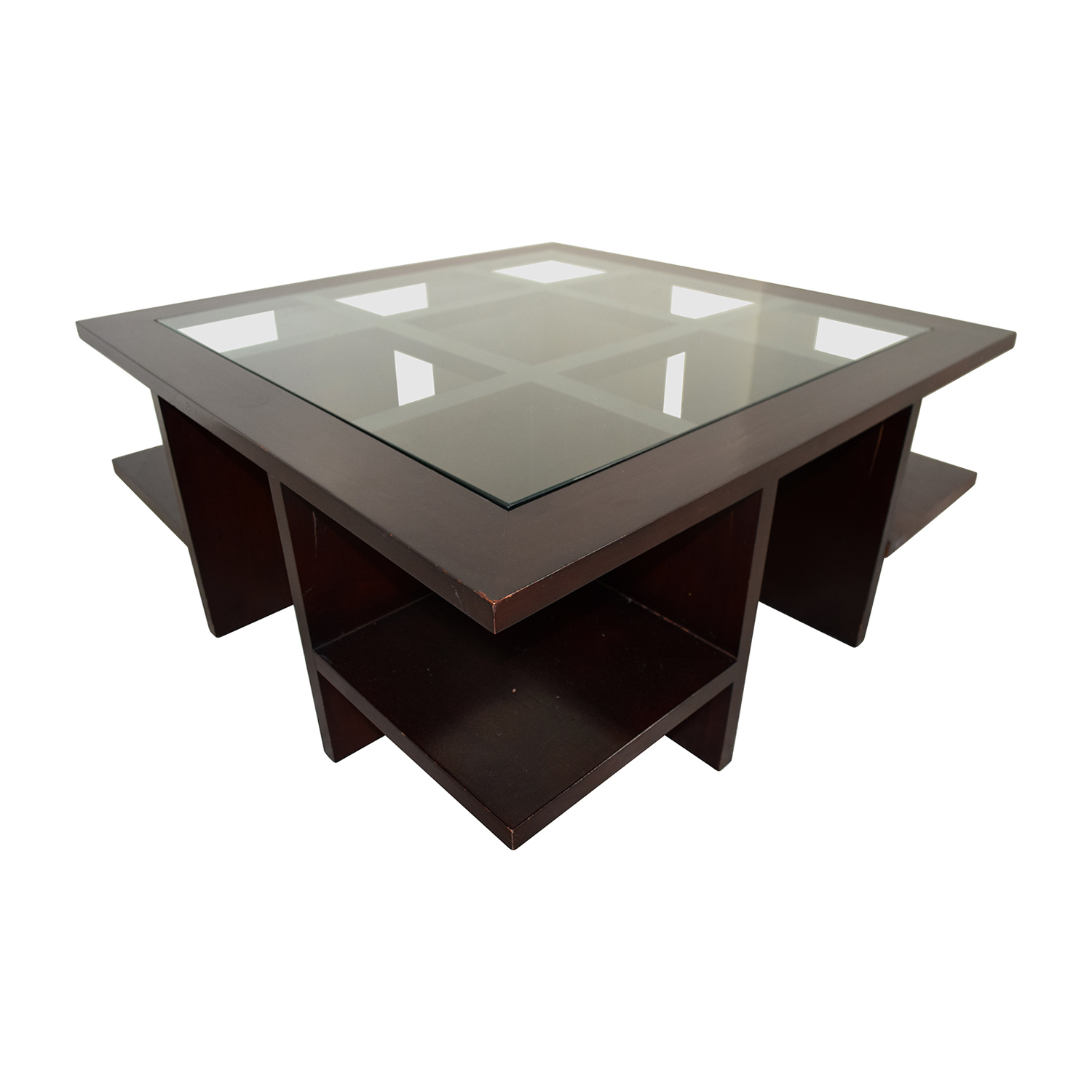 Buy Glass Coffee Table 90 Off Moie Moie Wood And Glass Coffee Table With Side
