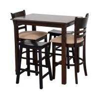 70% OFF - Simple Bar Table with Two Chairs and Two Stools ...