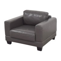 88% OFF - Gray Leather Armchair / Chairs