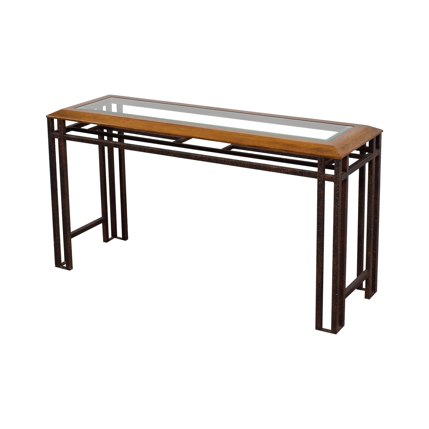 Rustic Wood And Glass Coffee Table 90 Off Rustic Brass Wood And Glass Console Table Tables