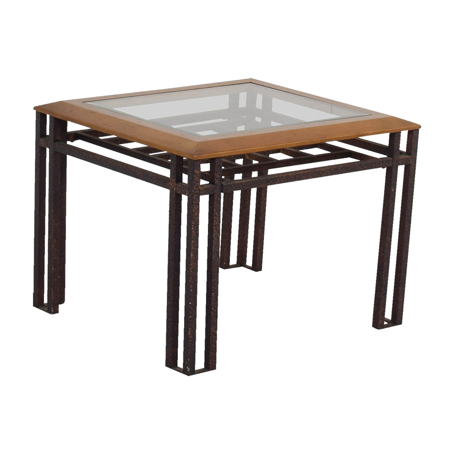 Rustic Wood And Glass Coffee Table 88 Off Rustic Brass Wood And Glass End Table Tables
