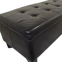 42% OFF - Black Tufted Faux Leather Ottoman with Storage ...