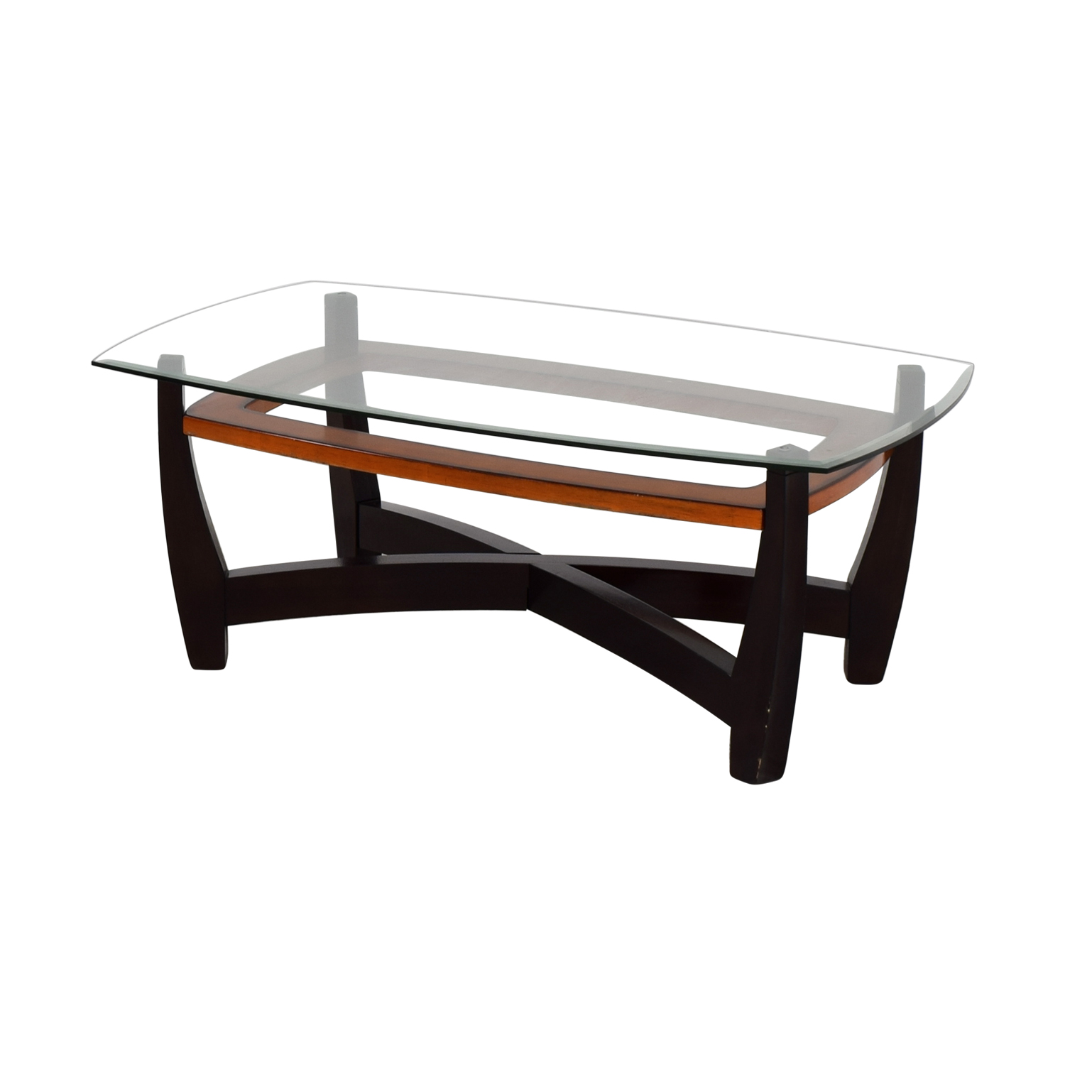 Wooden Coffee Table With Glass Top 76 Off Raymour And Flanigan Raymour And Flanigan