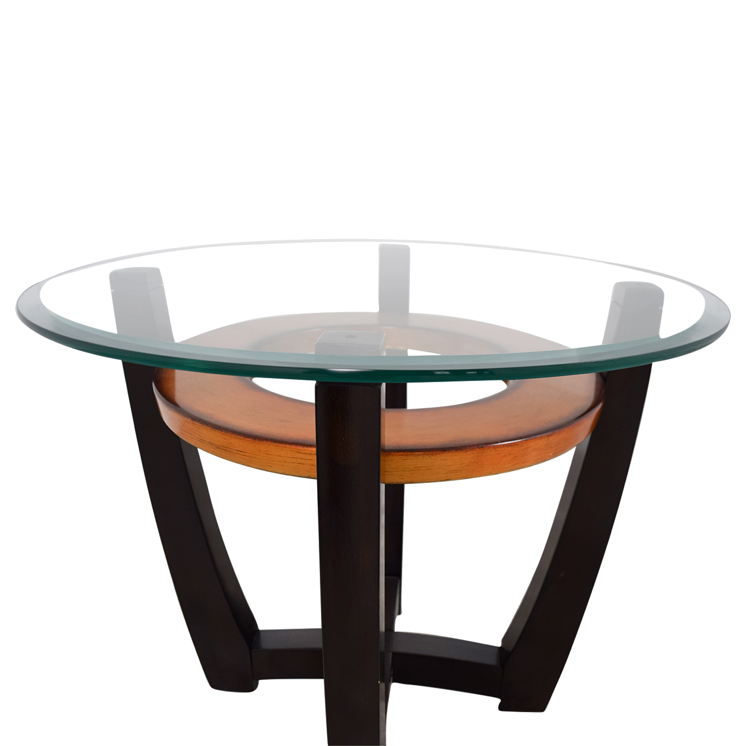 Round Glass Top End Tables 90 Off Raymour And Flanigan Raymour And Flanigan Round