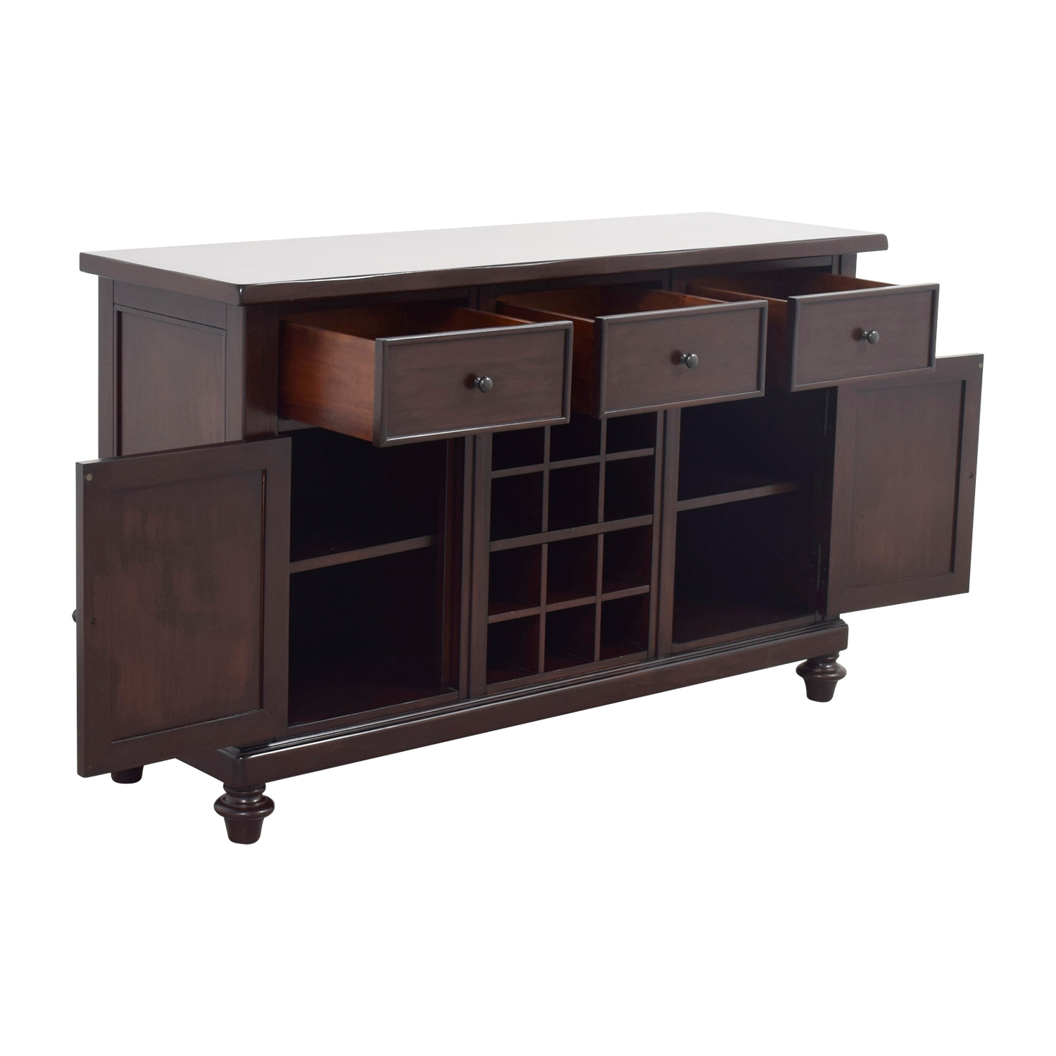 Wood Wine Storage 67 Off Pottery Barn Pottery Barn Wood Bar With Wine