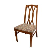 83% OFF - Wood Kitchen Table and Floral Upholstered Chairs ...