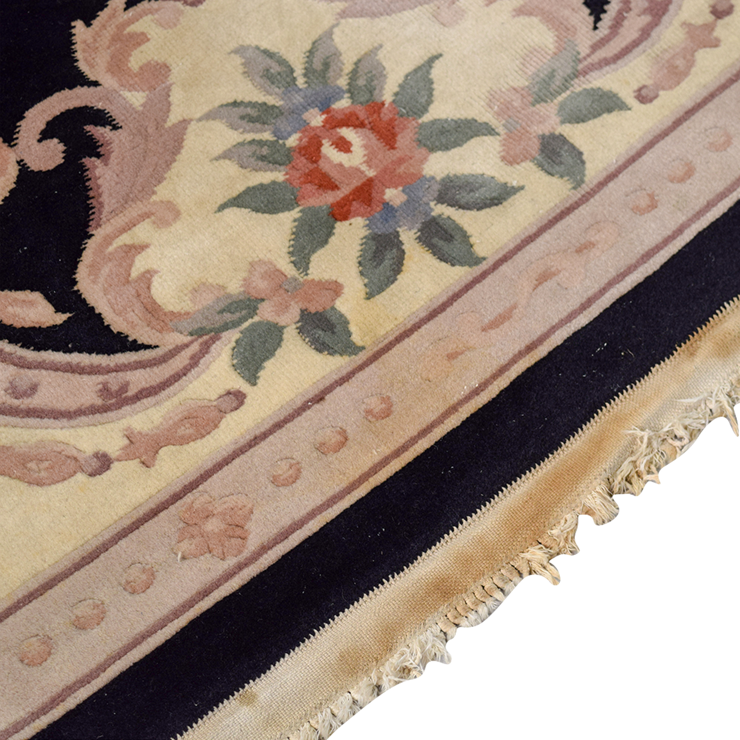 Sofas And Recliners 90% Off - Black Oriental Multi-colored Floral Rug / Decor