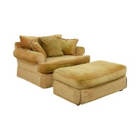 90% OFF - Klaussner Klaussner Yellow Arm Chair and Ottoman ...