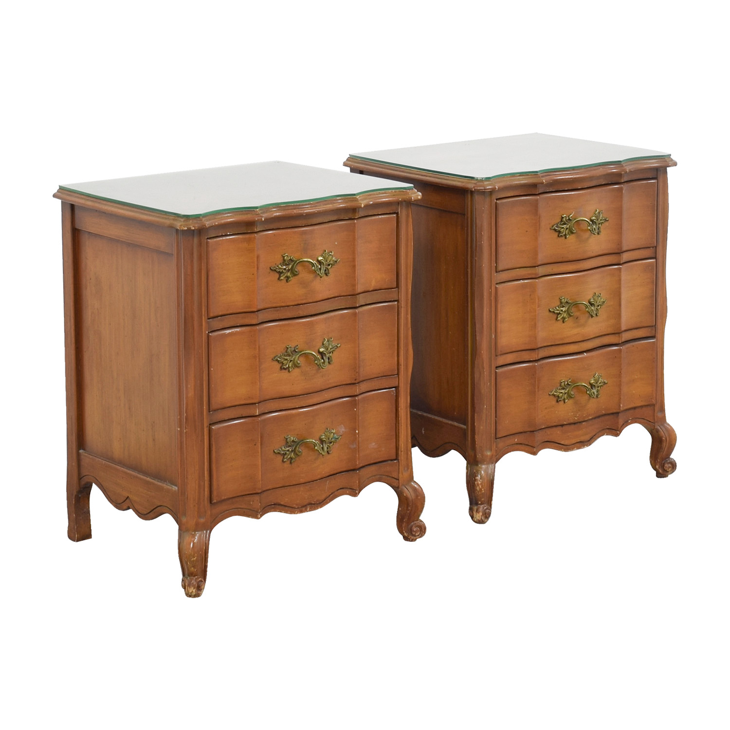 Glass End Table With Drawer 90 Off Three Drawer Nightstands With Glass Top Tables