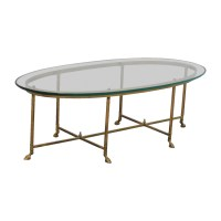 83% OFF - Oval Glass & Brass Coffee Table / Tables
