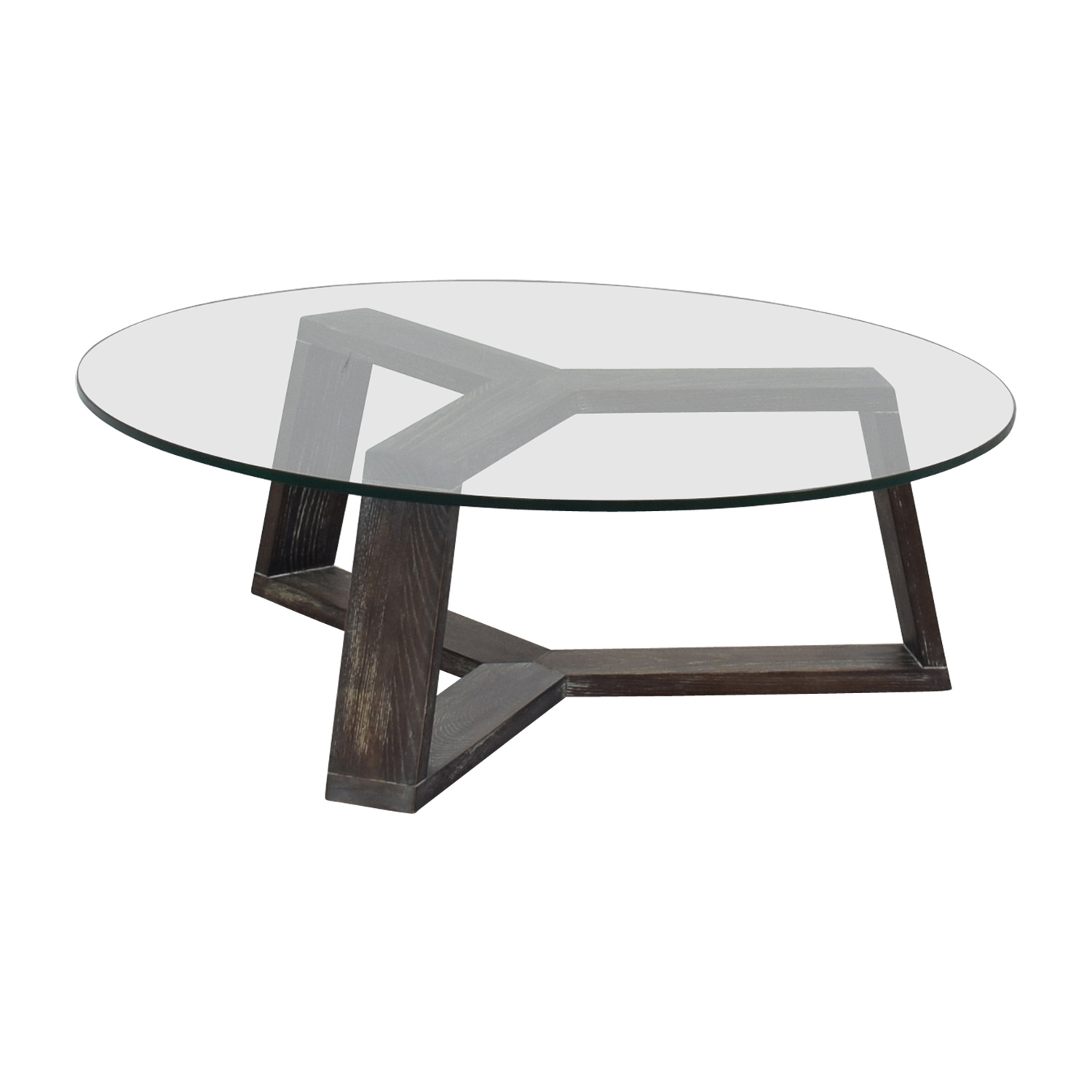 Buy Glass Coffee Table 83 Off Cb2 Cb2 Round Glass And Wood Coffee Table Tables