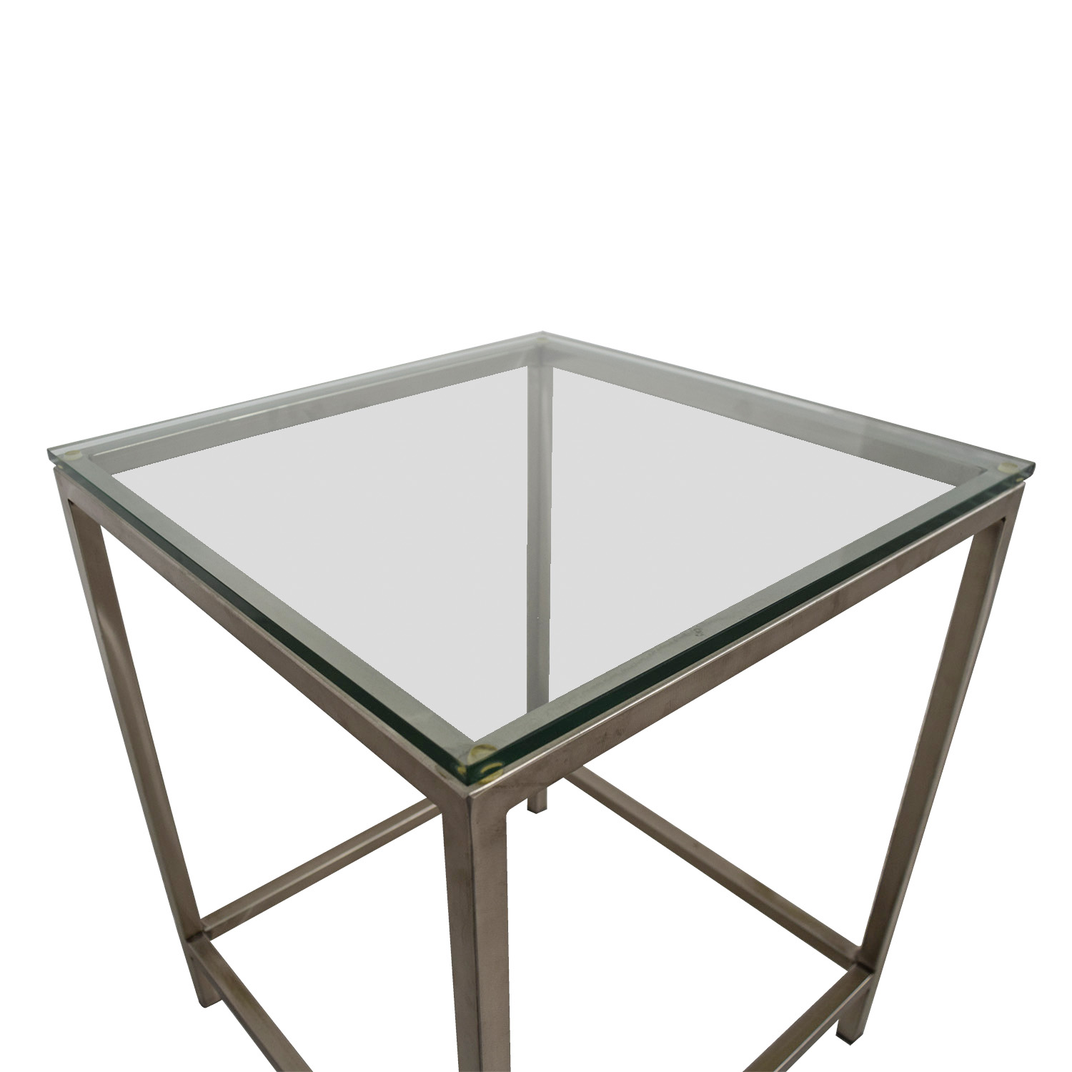 Square Glass End Tables 81 Off Crate And Barrel Crate And Barrel Square Glass And