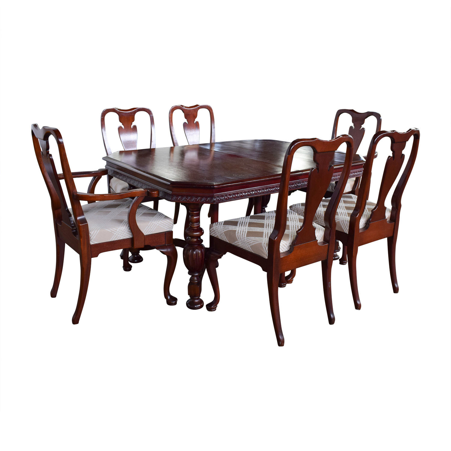 Second Hand Wood Sala Set 90 Off Mahogany Carved Wood Dining Set With Tan And