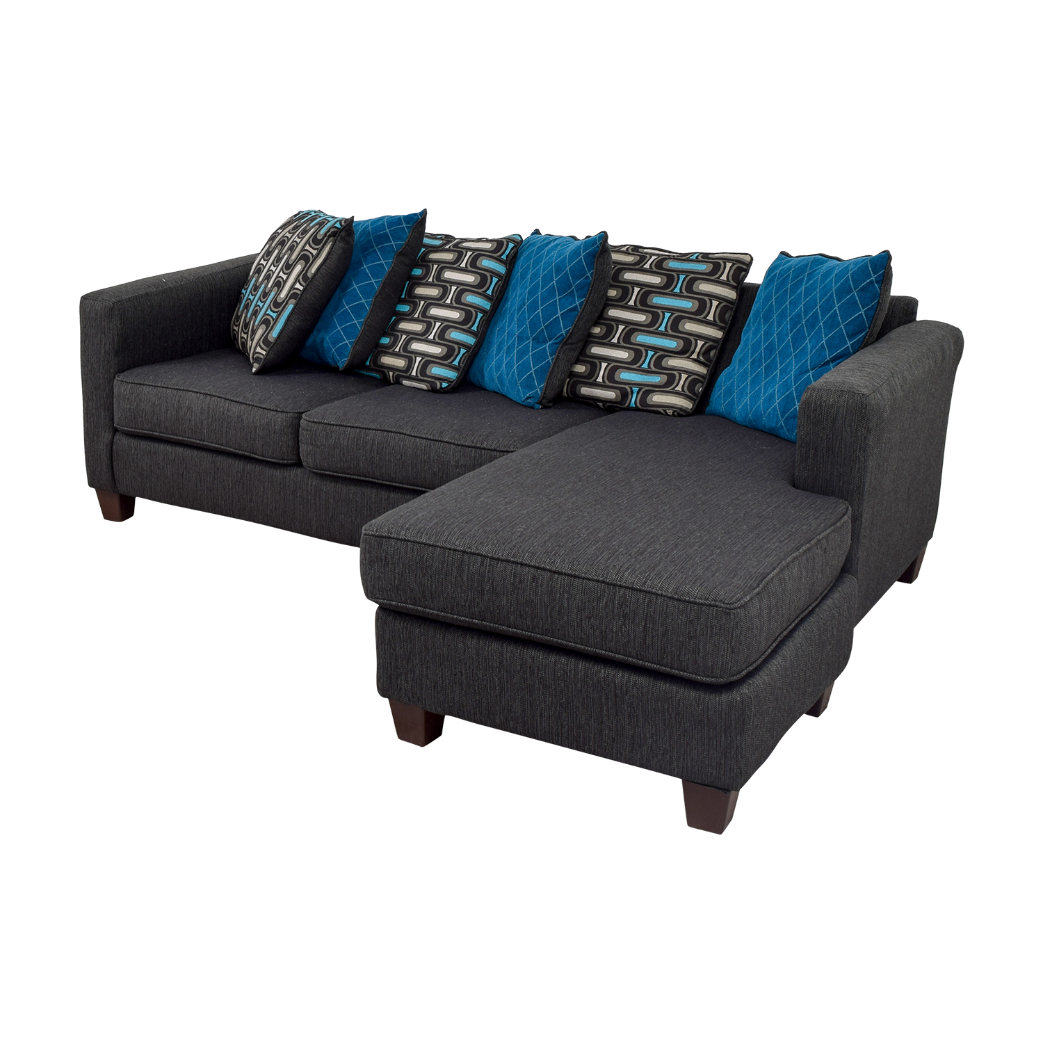 Chaise Navy 65 Off Navy Chaise Sectional With Toss Pillows Sofas