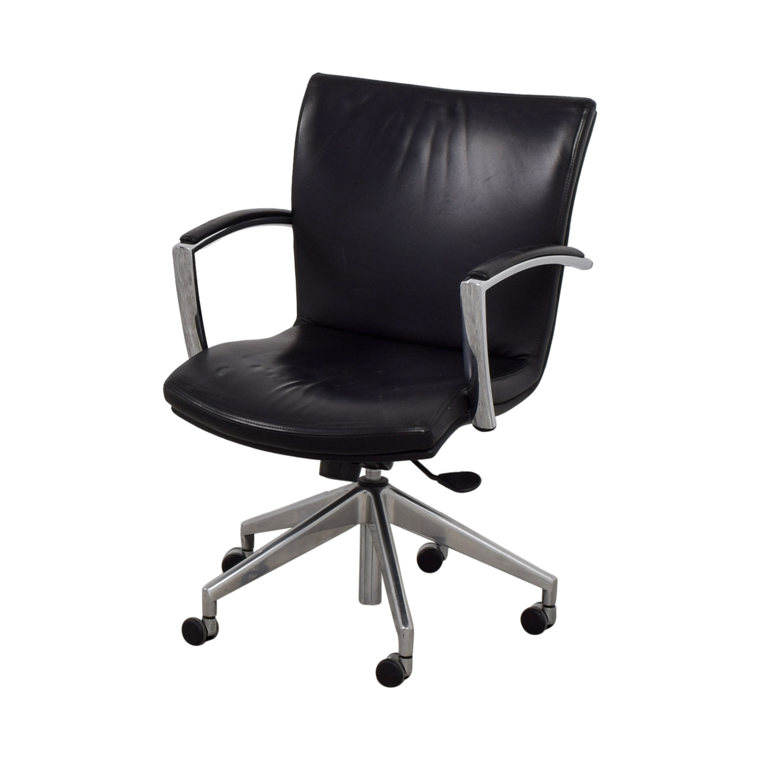 Furniture Chairs Black 61 Off Black Leather Desk Chair Chairs