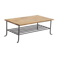 56% OFF - Rustic Wrought Iron and Wood Coffee Table / Tables