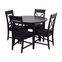 81% OFF - Round Black Wood Dining Set / Tables