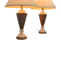 79% OFF - Beige and Crystal Table Lamps / Decor