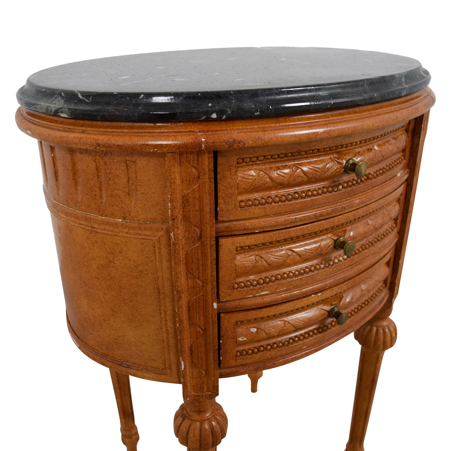 Buy Side Table 77 Off Antique Oval Marble Top Side Table Tables
