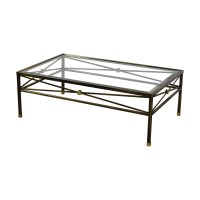 74% OFF - Macy's Macy's Glass and Brass Coffee Table / Tables