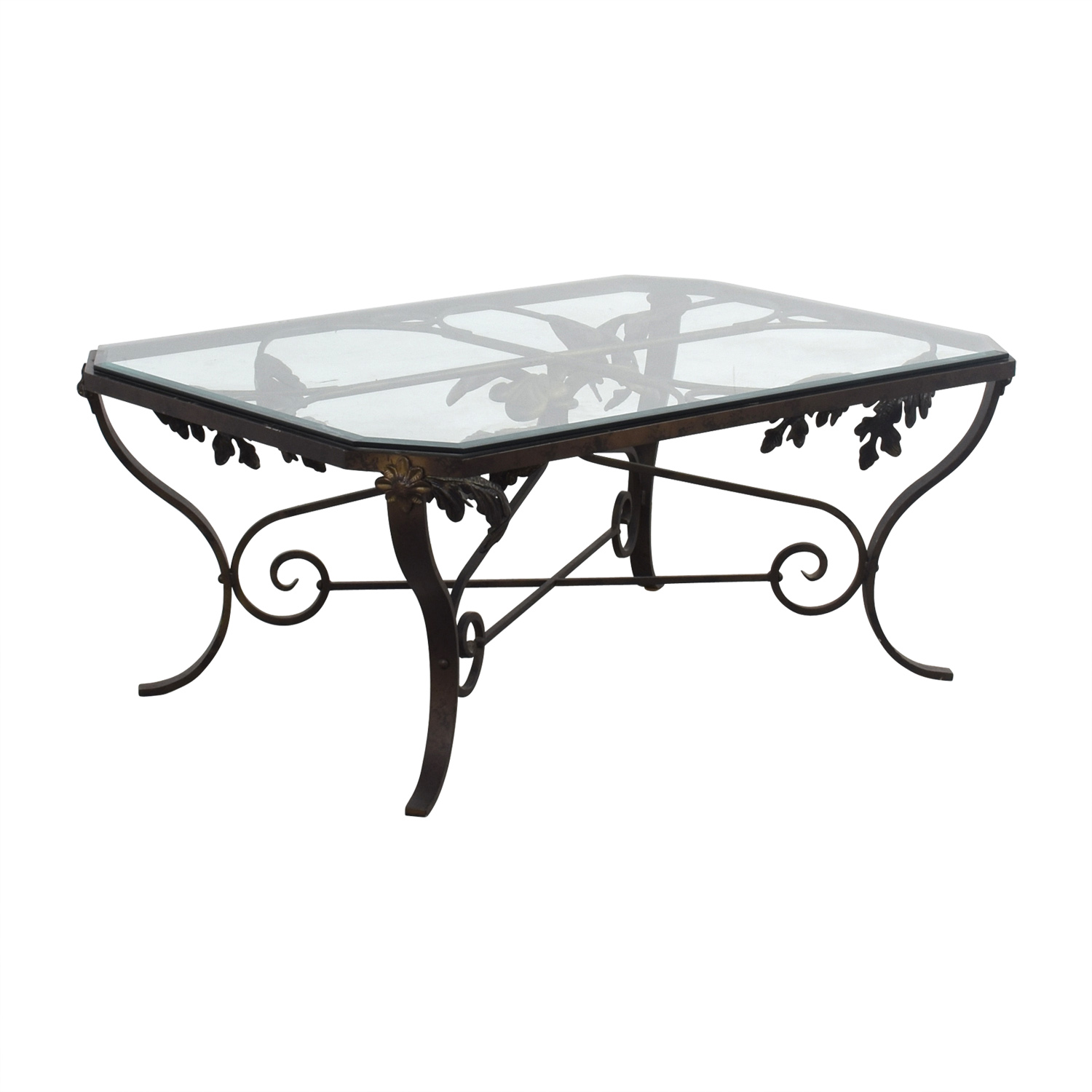 Glass And Steel Coffee Tables 90 Off Glass And Metal Leaf Scroll Coffee Table Tables