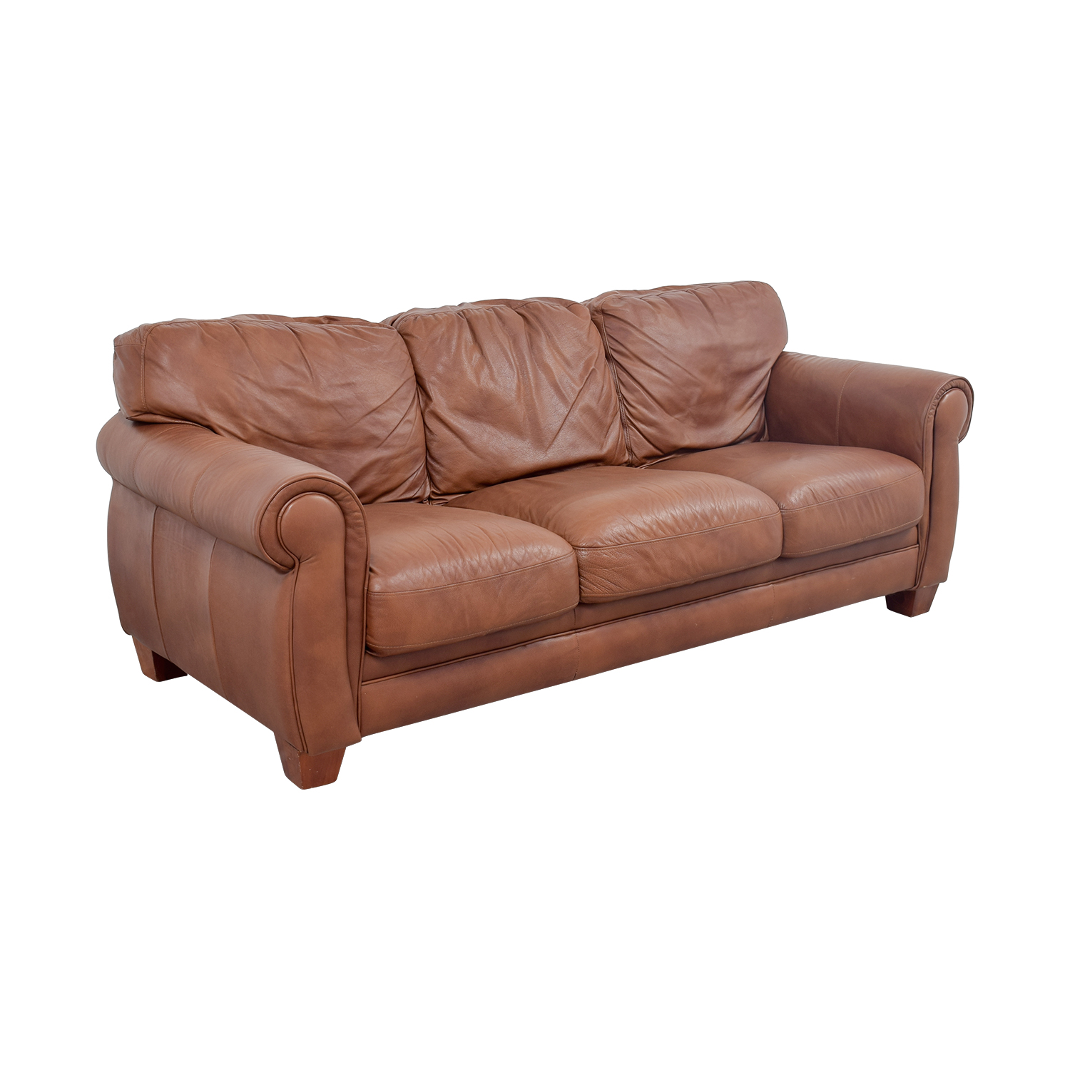 Cushions For Brown Leather Sofas 75 Off Klaussner Klaussner Brown Leather Three Cushion
