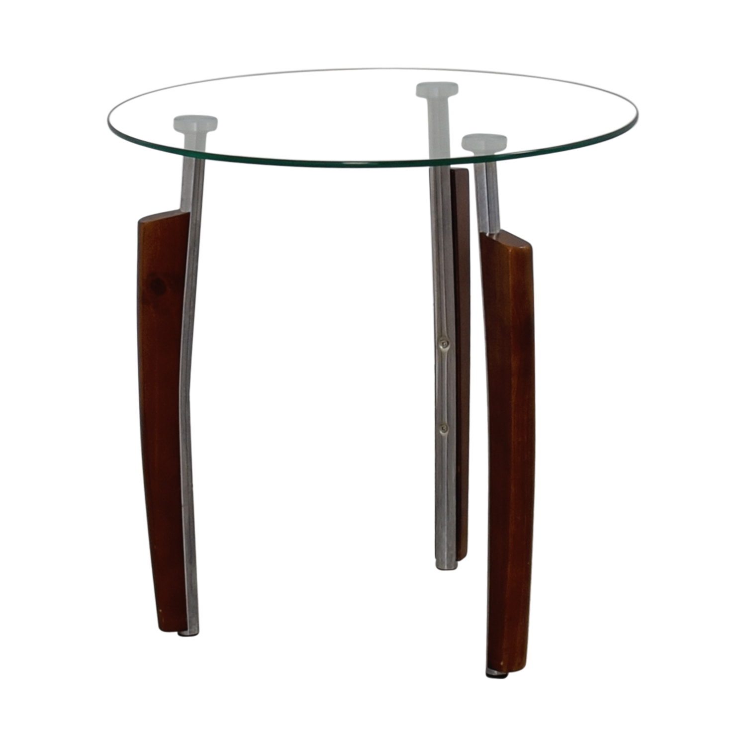 Round Glass Top End Tables 55 Off Round Glass And Wood Side Table Tables
