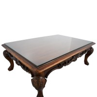 75% OFF - Rectangular Carved Wood Coffee Table with Glass ...