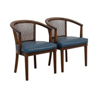 76% OFF - Vintage Mid-Century Cane Navy Barrel Chair / Chairs