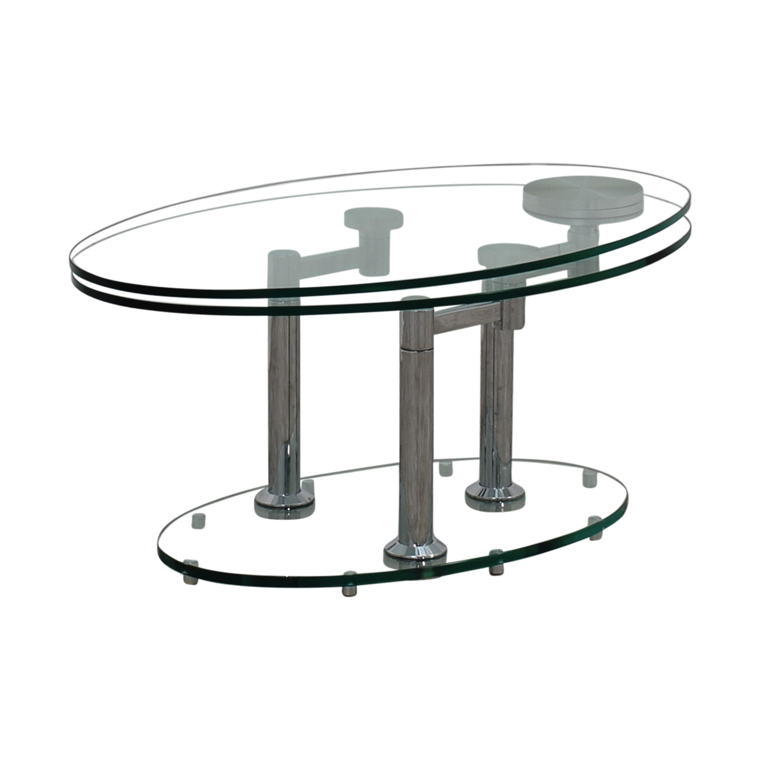 Buy Glass Coffee Table 88 Off Art Deco Movable Oval Glass And Metal Coffee Table