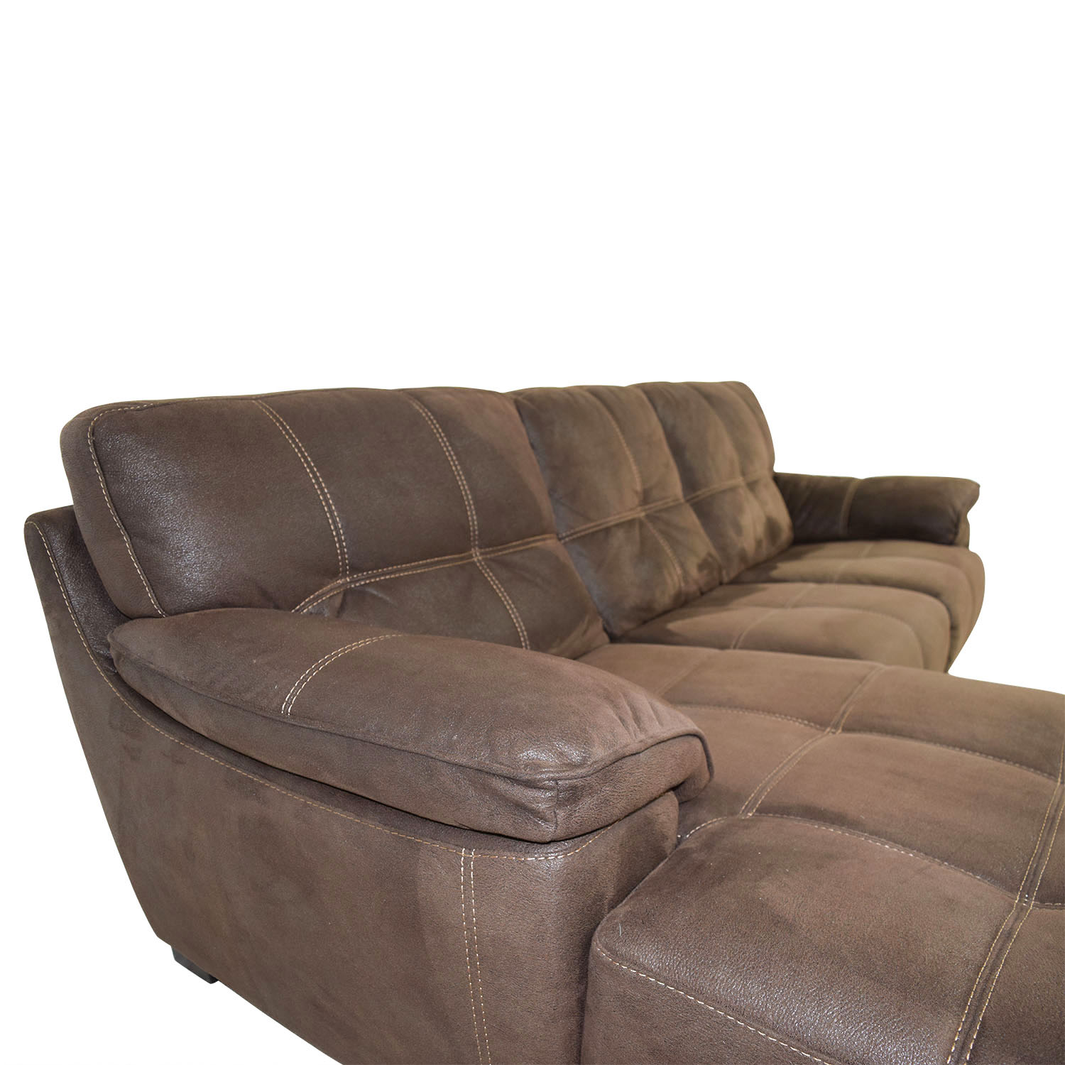 Bettsofa Xenia Sectional Sofa Chaise In Brown Rhino Microfiber Best Material For