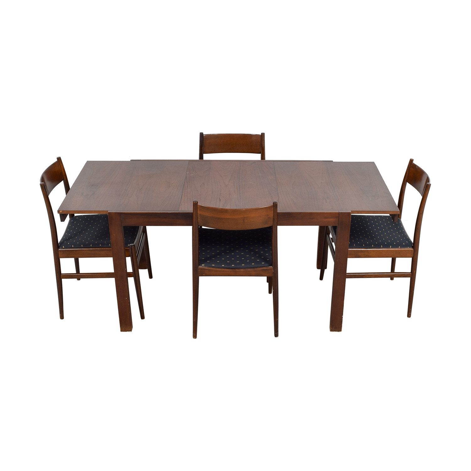 Second Hand Wood Sala Set 81 Off Extendable Wood Dining Set With Blue Seat
