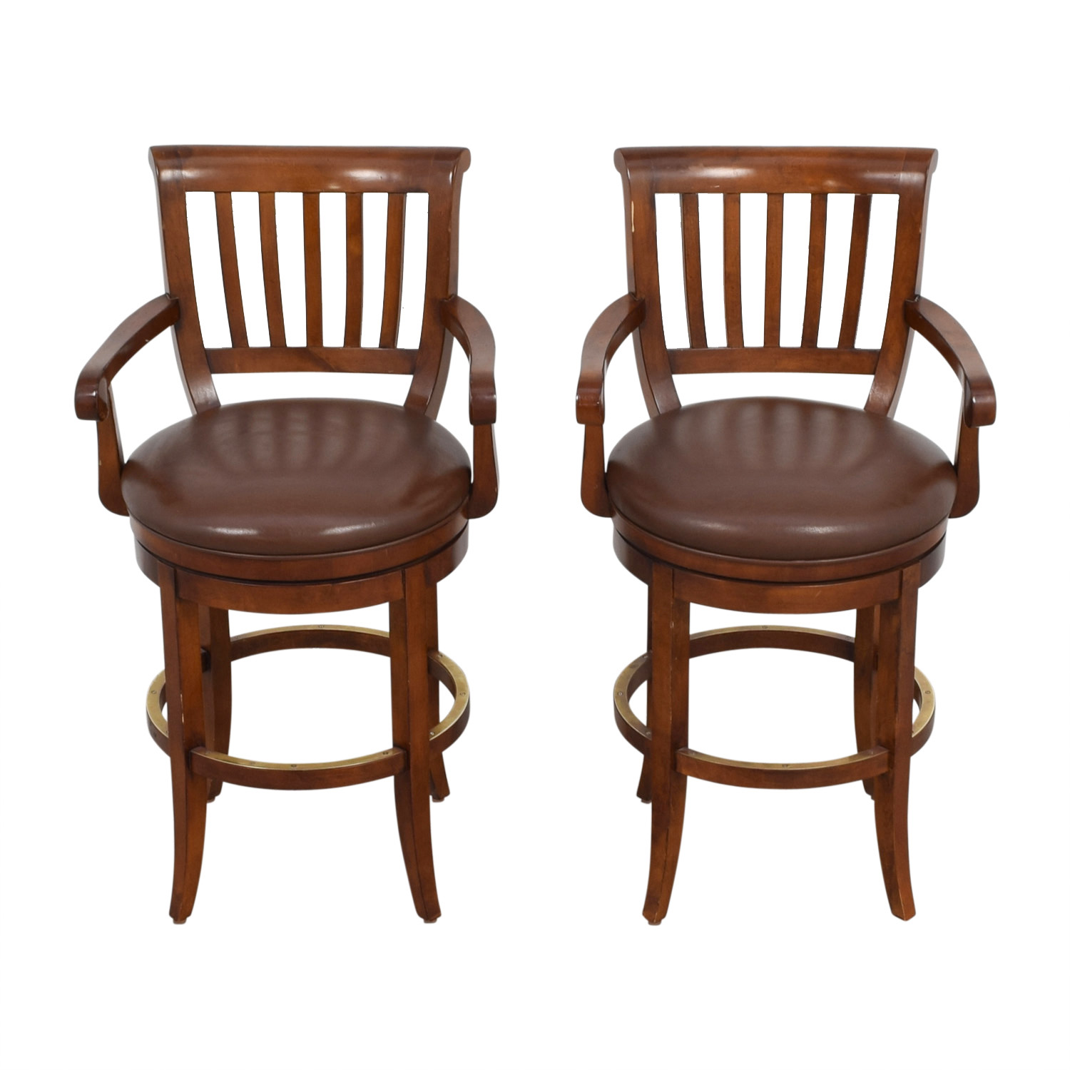 79 Off Ethan Allen Ethan Allen Brown Leather Stools