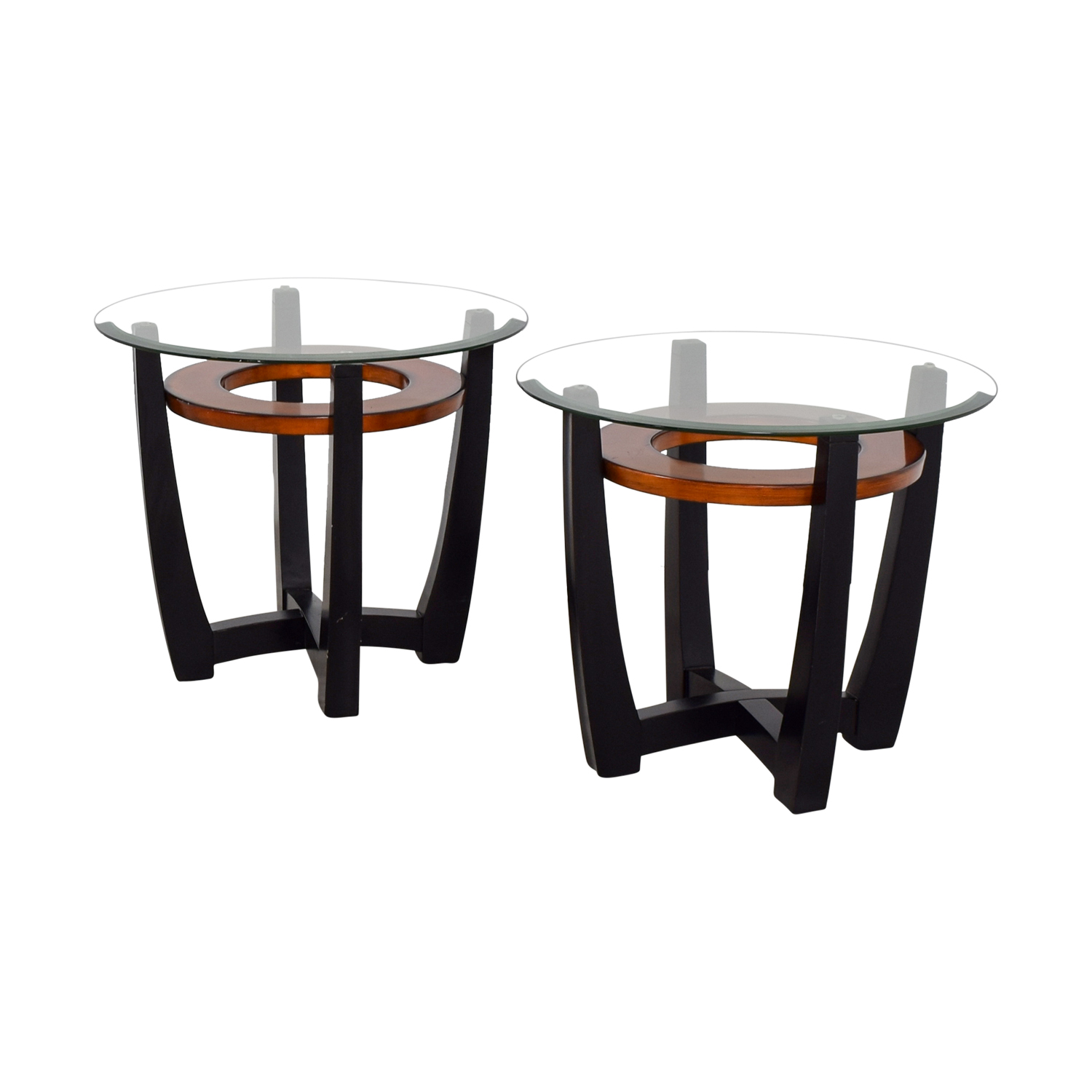 Round Glass Top End Tables 71 Off Elation Elation Round Glass And Wood End Tables