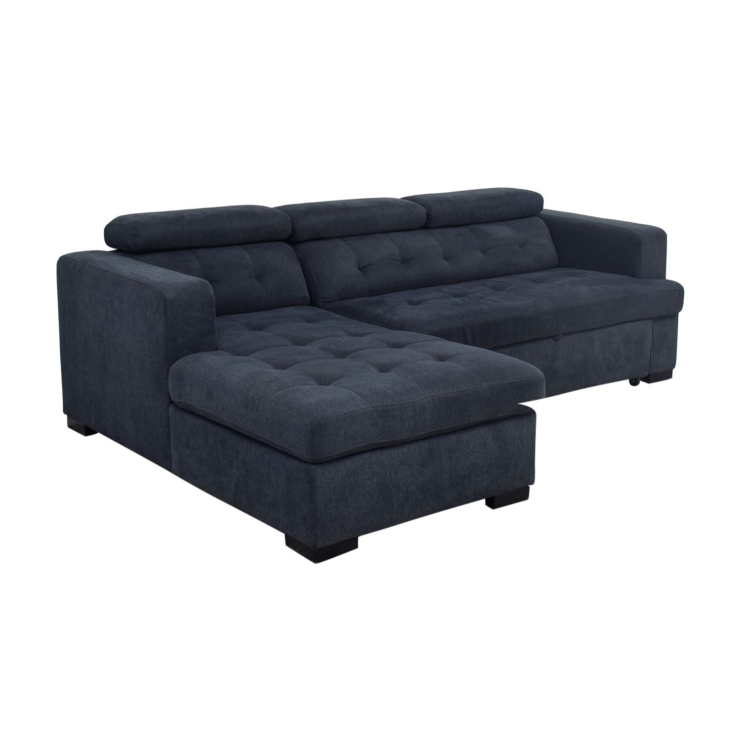 Chaise Navy 58 Off Playpen Playpen Navy Tufted Chaise Sectional Sofas