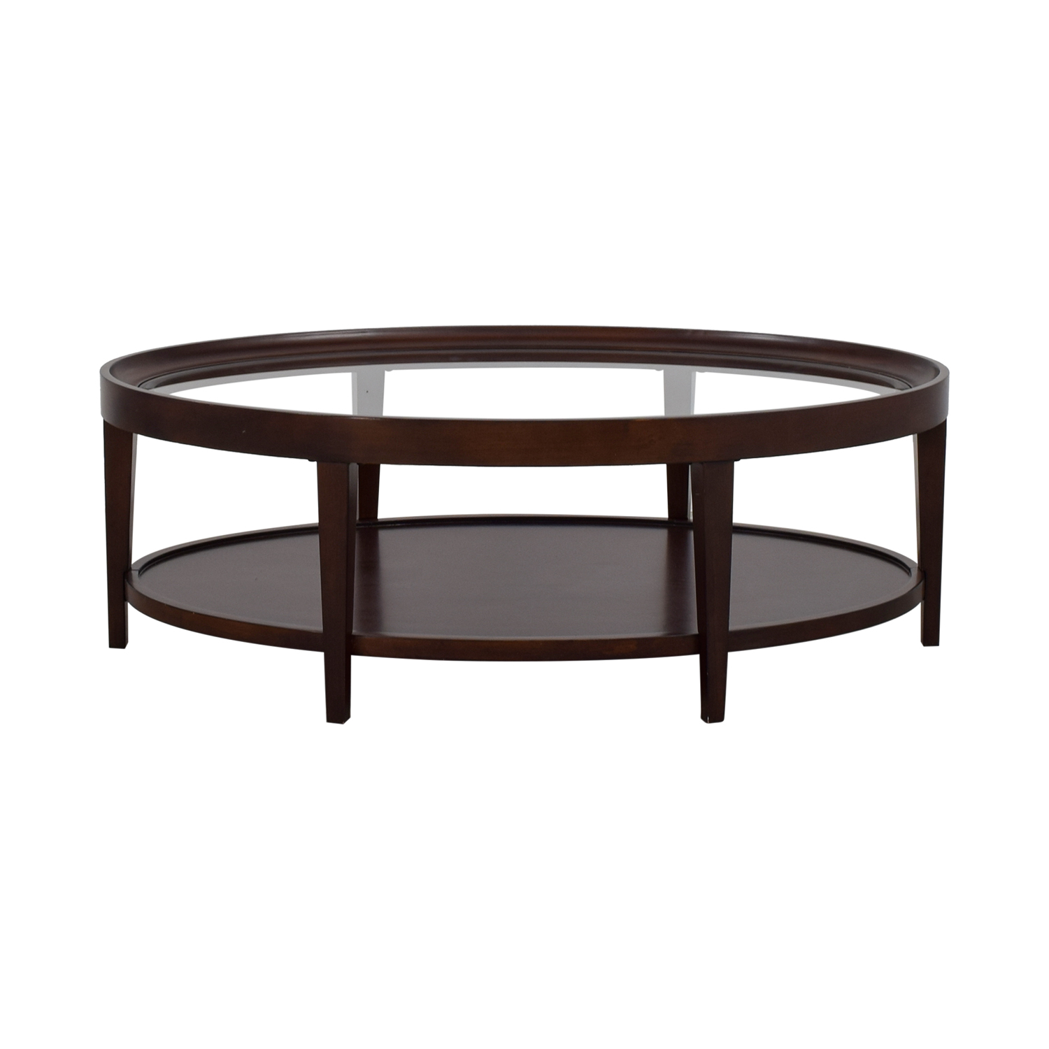Coffee Tables Images 90 Off Carson Carson Oval Glass And Wood Coffee Table