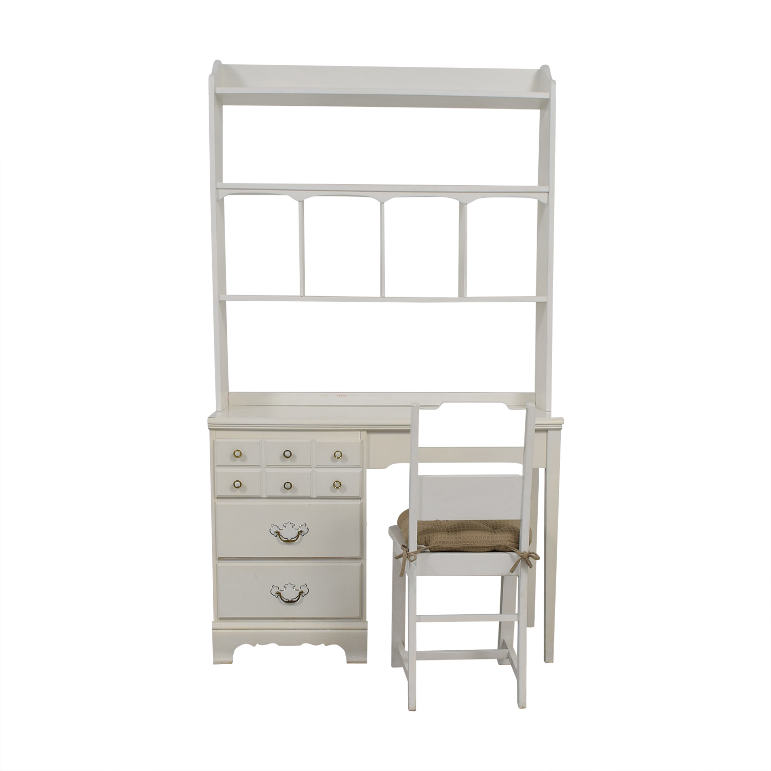 White Desk And Chair 67 Off Lea Lea White Wood Three Drawer Desk With Hutch