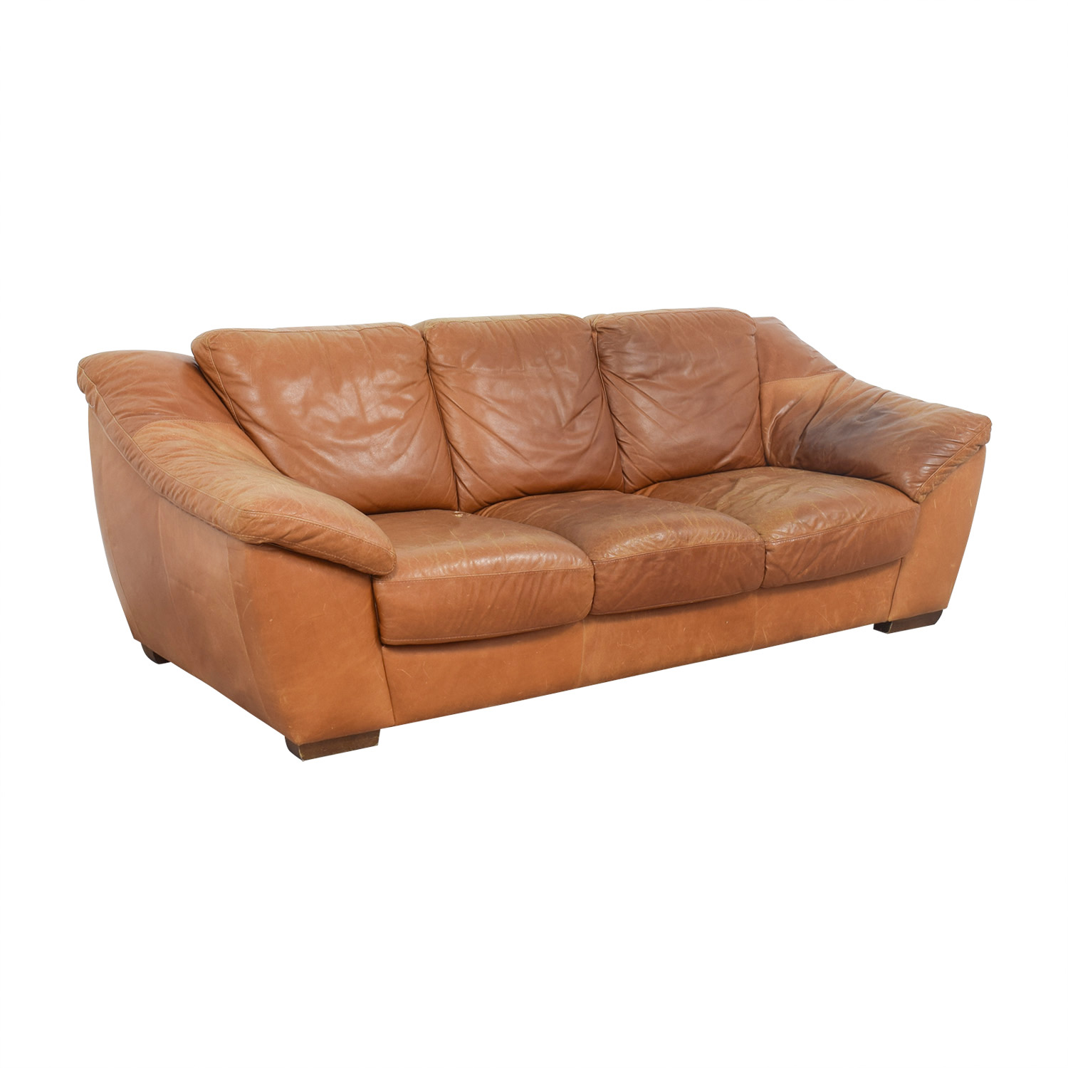 Cushions For Brown Leather Sofas 90 Off Nicoletti Nicoletti Brown Leather Three Cushion