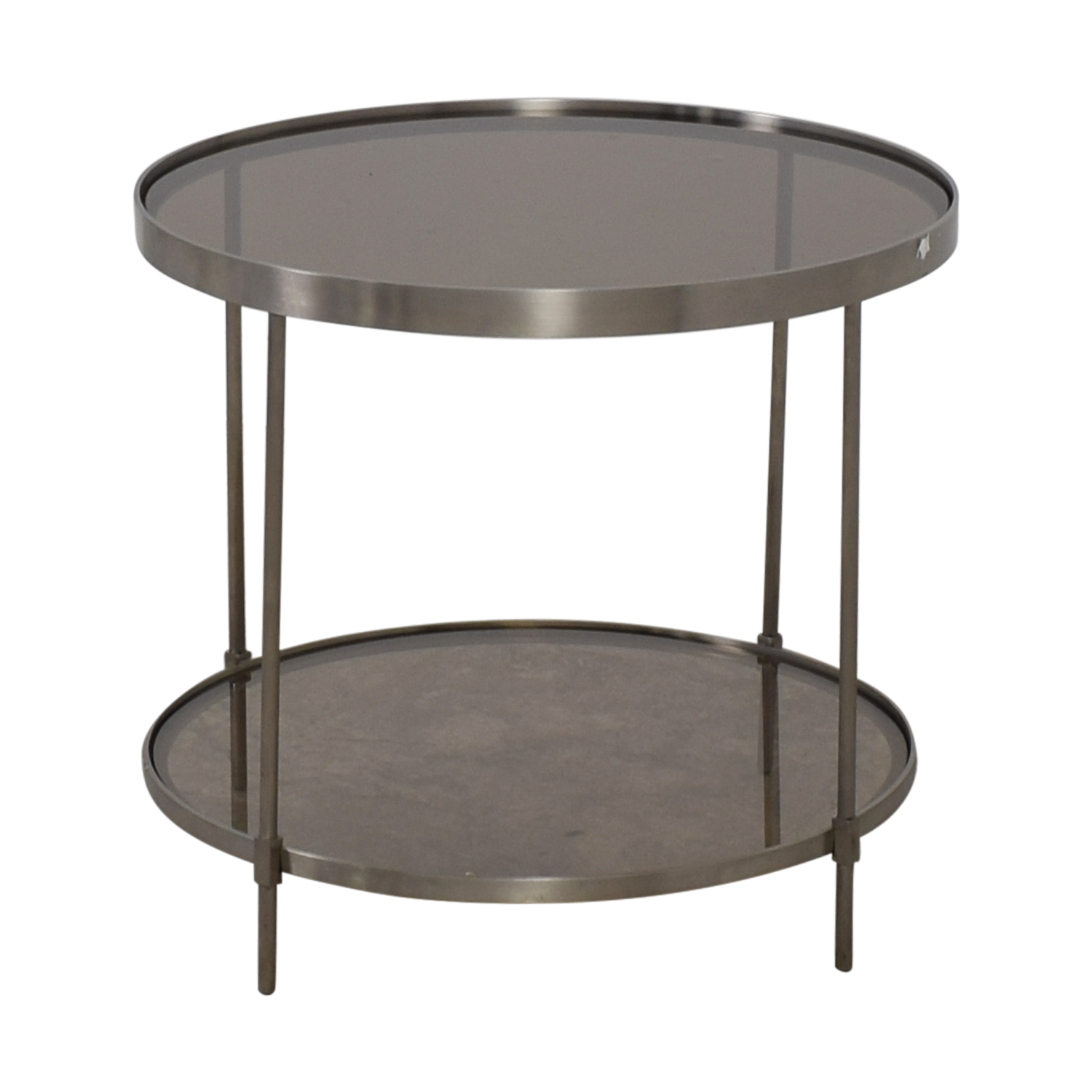Round Glass Top End Tables 56 Off Round Glass And Chrome End Table Tables